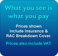 Prices shown include insurance, Unlimited Mileage, RAC Breakdown Cover & VAT